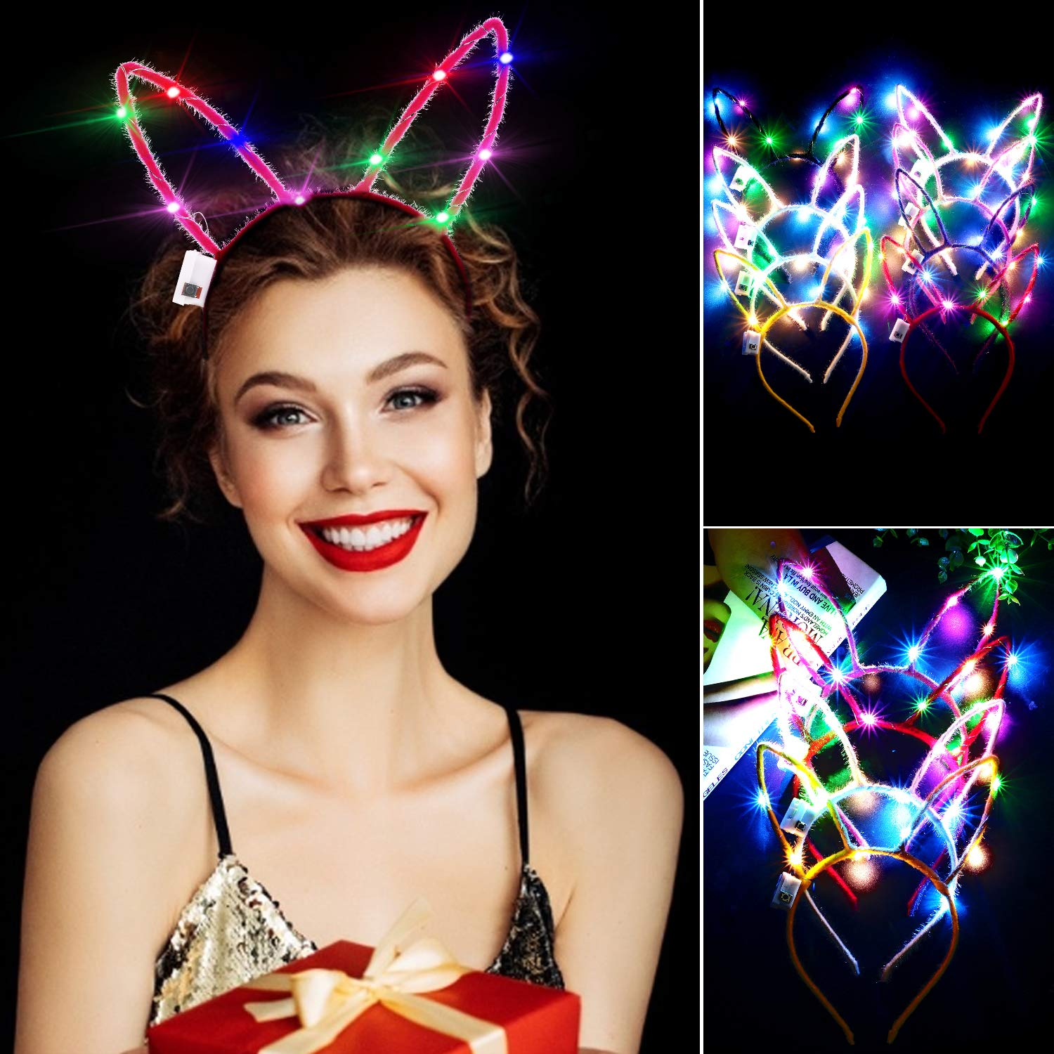 LED Rabbit Ears Headband, Aniwon 10PCS Light Up Bunny Ears Flashing Headbands Cute Hair Hoop for Kids Girls Adult Halloween Christmas Party Decorations Hair Accessories