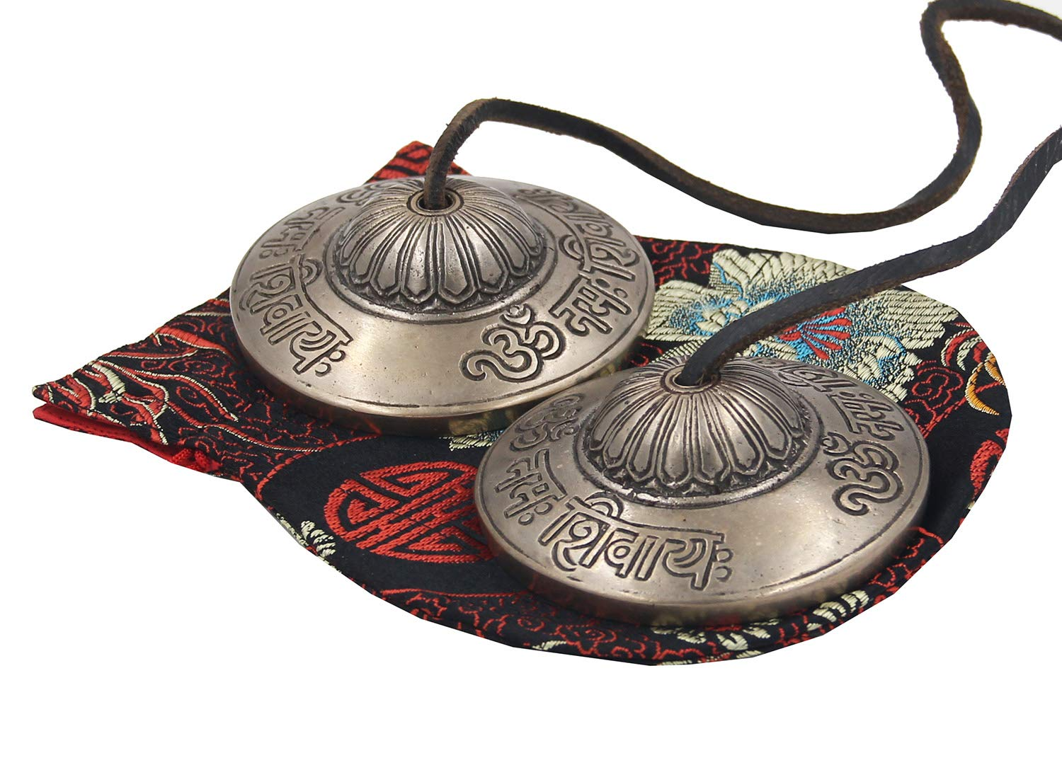 DharmaObjects Large Tibetan Premium Quality''Om Namah Shivaya'' Tingsha Cymbals 3'' With Pouch