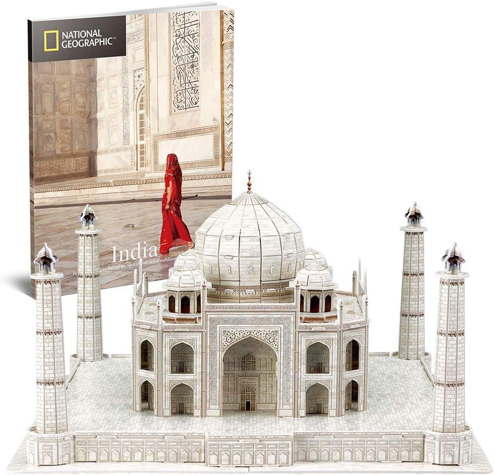Taj Mahal 3D Puzzle, National Geographic DIY Building Model Kit 3D Jigsaw City Puzzle, Rompecabezas Educativo Para Niños, Adecuado Para Niños Mayores De 8 Años, Regalo De Cumpleaños (87 Piezas)