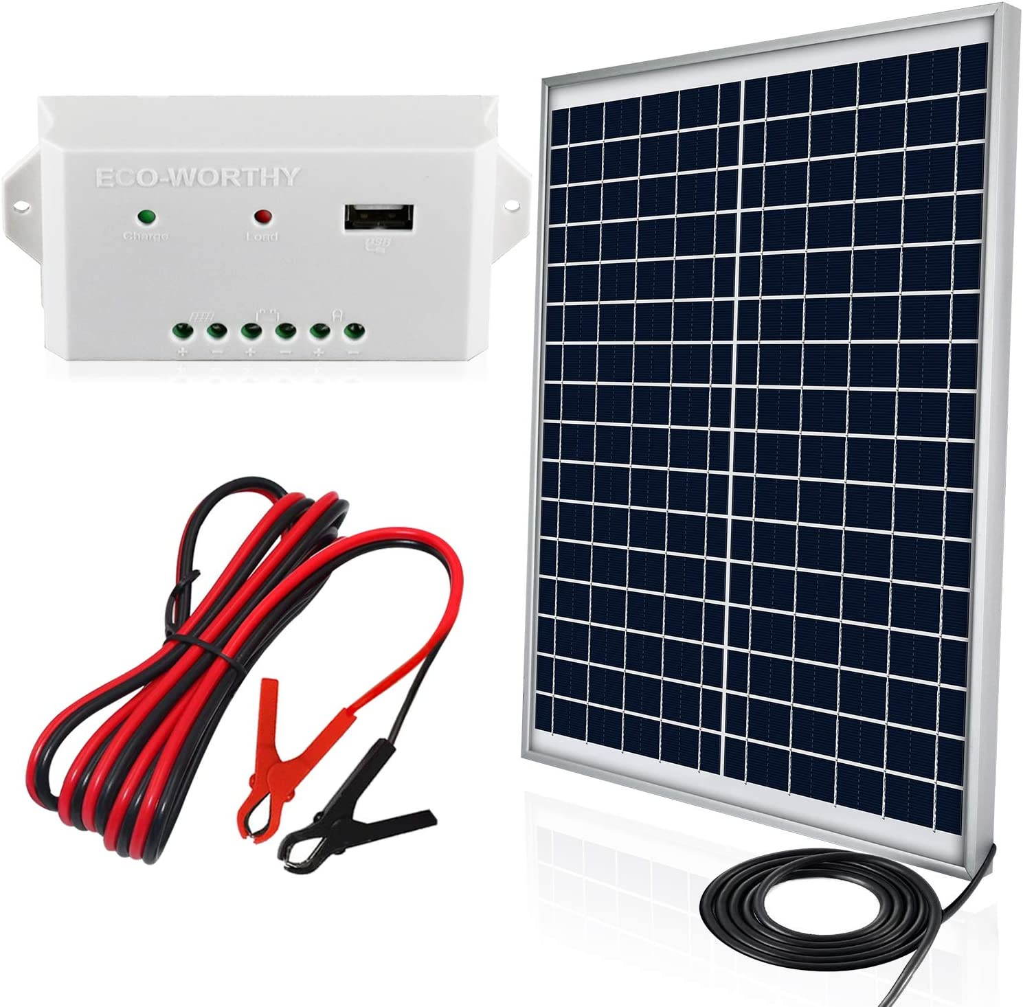 eco worthy 20 watts 12v solar panel kit waterproof 20w solar panel 3a usb port charge controller 6 feet isolated battery clips how to connect a solar panel to a 12 volt battery tiny house 12volt wiring youtube