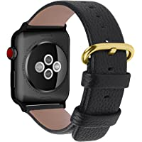 Fullmosa Compatible Apple Watch Band 38mm 40mm 42mm 44mm Leather Compatible iWatch Band/Strap Compatible Apple Watch Series 5 4 3 2 1 38mm/40mm Black+golden buckle+black adapter SWB-0268