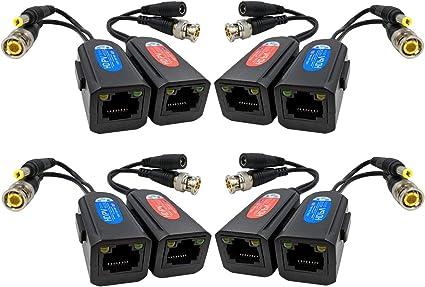Cat5e To BNC Passive Video and Power Balun Transceiver for CCTV Camera