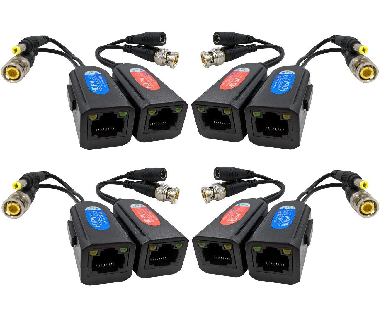 FocusHD 4 Pair Passive Video Balun 1080P-5MP BNC to RJ45 Adapter with Power, Upgraded with Ground Loop Isolated Security Camera Network Transceiver Cat5e/Cat6 Cable to BNC Connectors -8Pack by FOCUSHD