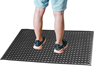 "Rubber Outdoor Mat Anti-Fatigue Floor Mat for Kitchen 23"" x 35"" New Commerical Heavy Duty Mat for Resturant Bar Floor Mat Garage Garden Industral Indoor Use Drainage Bath Mat Black"