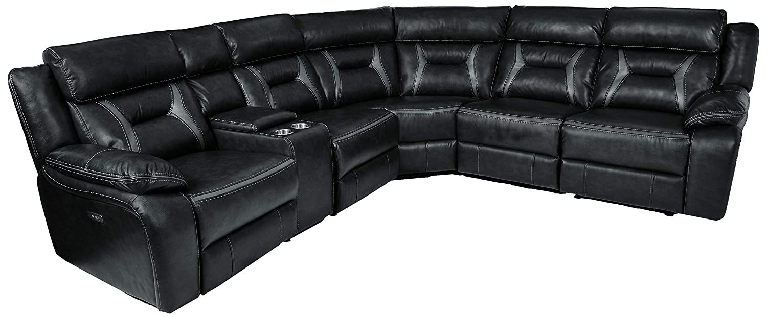 Homelegance Amite 6-Piece Power Reclining Sectional with Console and USB  Port, 106\