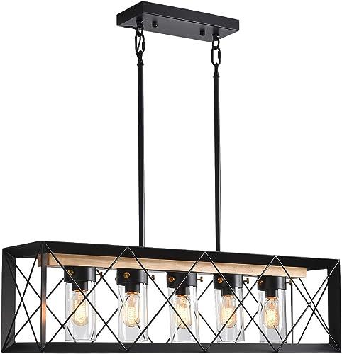 5-Light Industrial Kitchen Island Pendant Lighting