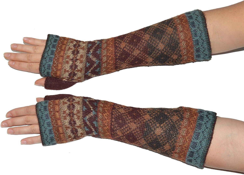 Invisible World Damen 100/% Alpaka fingerlose Handschuhe