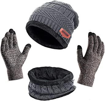 Black Grey 3Pcs Warm Beanie Hat Touch Screen Gloves for Unisex Men Women SUMMERWY Winter Hat Scarf Gloves Set