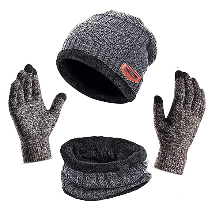 68f3775e 3Pcs Winter Beanie Hat + Scarf + Touch Screen Gloves, Warm Knit Hat Thick  Fleece Lined ...