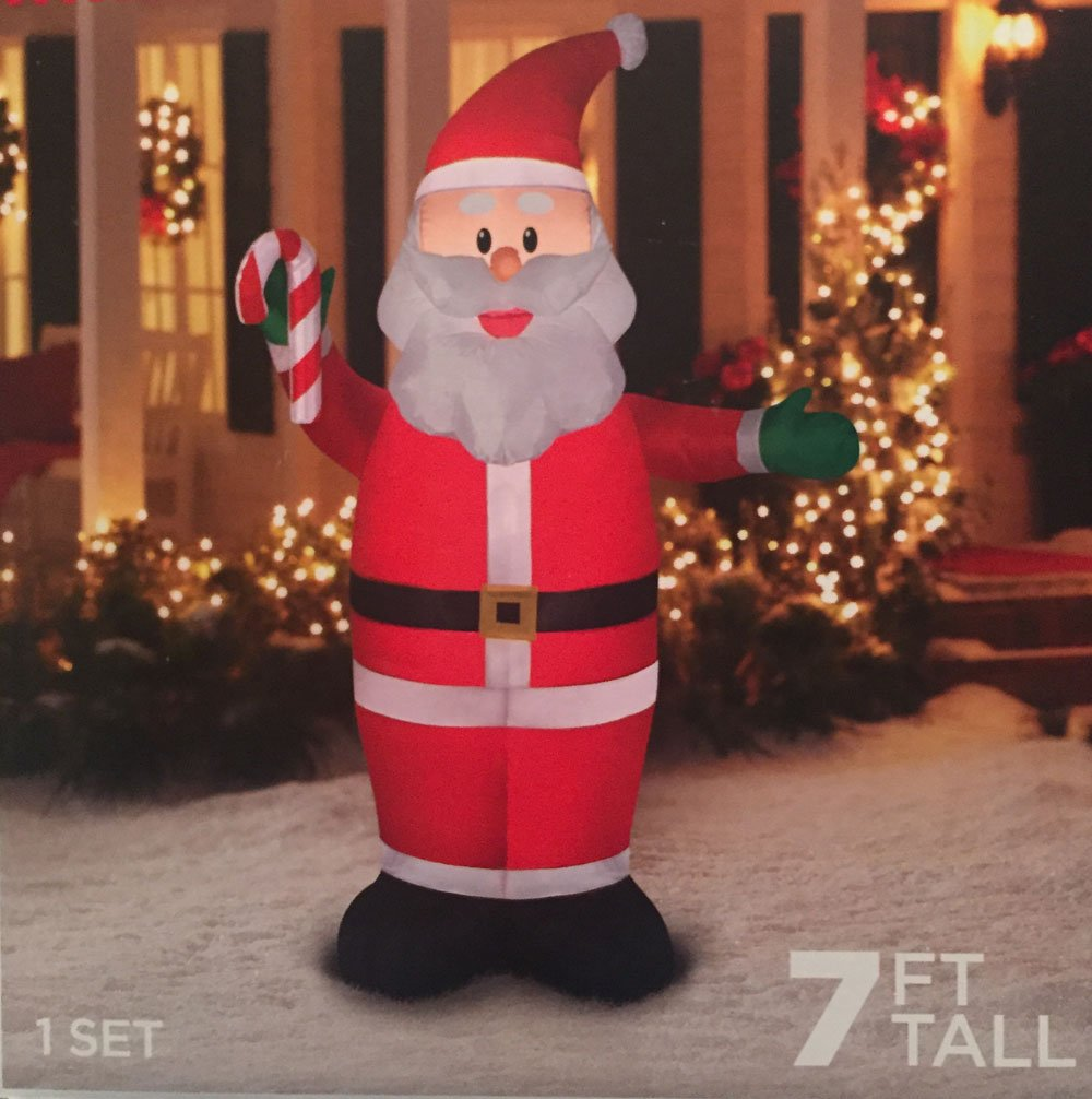 7 Ft. Tall Santa Clause Christmas Inflatable Lights Up Yard Decor Self-Inflates