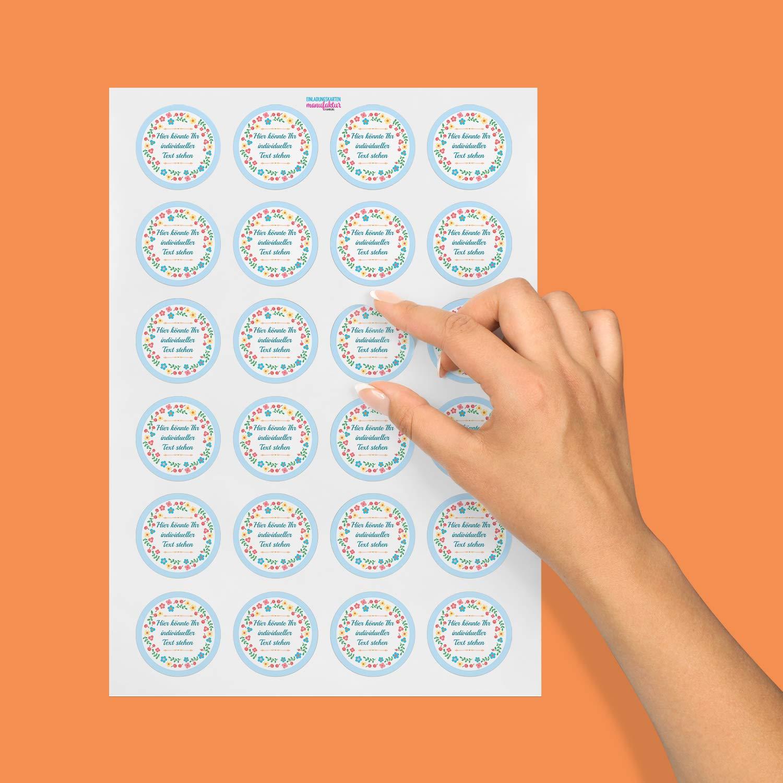 24 PERSONALISIERTE runde Etiketten mit Motiv Ihre Aufkleber online selbst gestaltet Hellblau Bunter Blumenkranz ganz individuell