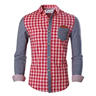 7aef3a8dc0 TAM WARE Mens Trendy Slim Fit Two-toned Checkered Longsleeve Shirt