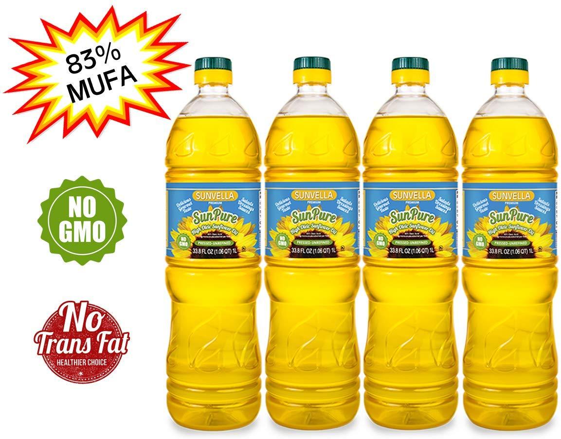 SUNVELLA SunPure Non-GMO High Oleic Sunflower Oil, Pressed-Unrefined (Pack of 4 x 33.8 FL OZ) by SUNVELLA
