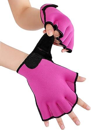 LORIE Aquatic Gloves Fitness Water Resistance Training Aqua Fit Webbed Swim Gloves Purple,M