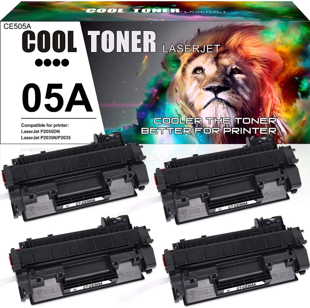 Cool Toner Compatible Toner Cartridge Replacement for HP 05A CE505A for HP Laserjet P2035 P2035N P2055DN P2055D P2055X HP P2030 P2050 P2055 P2035 Printer Toner Cartridge Ink ( Black, 4-Pack)