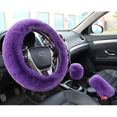 Valleycomfy Winter Warm Faux Wool Steering Wheel Cover with Handbrake Cover Gear Shift Cover Set Universal 15 Inch 1 Set 3 Pcs, Purple: Automotive [5Bkhe1007721]