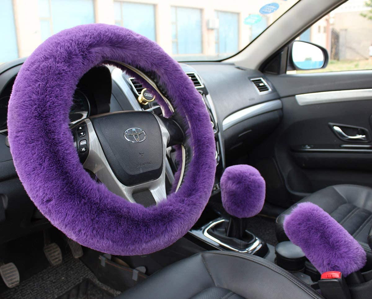 Valleycomfy Winter Warm Faux Wool Steering Wheel Cover with Handbrake Cover Gear Shift Cover Set Universal 15 Inch 1 Set 3 Pcs, Purple
