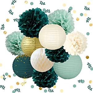 NICROLANDEE Wedding Party Decorations - 12PCS Green Hanging Tissue Pom Poms Gold Foil Dots Paper Lantern Confetti 30G for Rustic Style Bridal Shower Baby Shower Birthday Eucalyptus Neutral Decor
