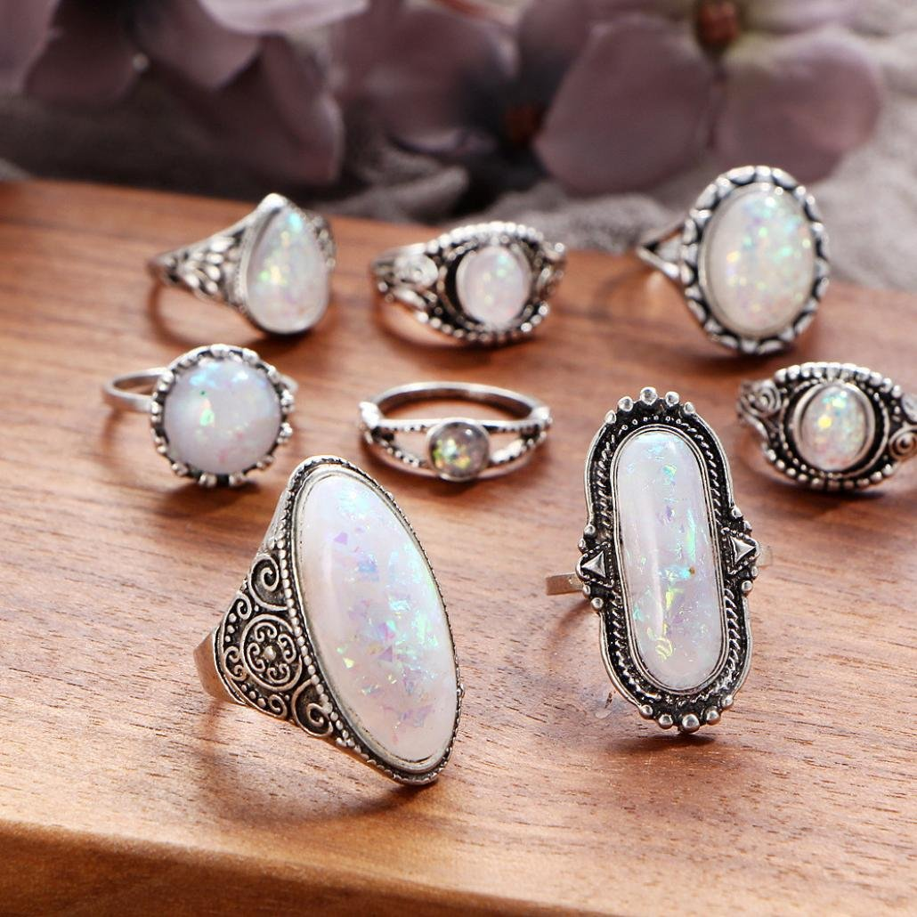 SMALLE◕‿◕ Clearance,8PC Boho Jewelry Silver Natural Gemstone Marquise Moonstone Personalized Ring by SMALLE◕‿◕ (Image #2)