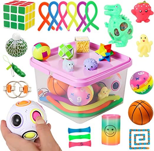 Growsly Sensory Fidget Toys Set 20 Fidget Packs Including Push Pop Bubble Fidget Toy Stress Balls Mesh and Marble Rainbow Magic Ball Stress Relief and Anti-Anxiety Tools Bundle for Kids and Adults