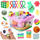Sensory Fidget Toys Set, 27pcs Stress Relief and Anti-Anxiety Tools Bundle for Kids and Adults, Marble and Mesh, Pack of Sque