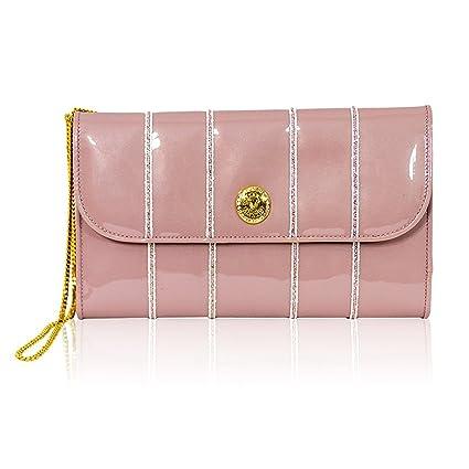 Valentino Orlandi Diseñador Italiano Dusty Pink Cartera de Cuero de Gran tamaño Embrague con Cadena