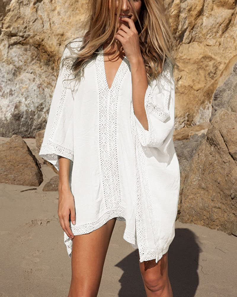 Loritta Womens Beach Bathing Suit Swim Bikini Swimsuit Oversized Cover Up Dresses Off White at  Women's Clothing store