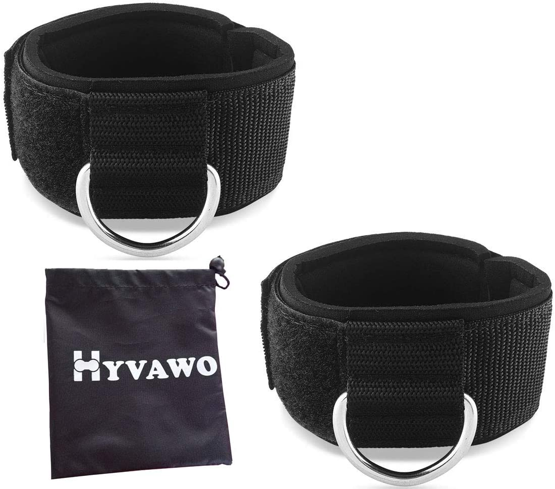 HYVAWO Ankle Strap Neoprene Padded Fitness Wrist Cuff with D Ring High Strength Exercises Belt Gym Pulley Strap for Cable Machines (Black 2 pack)