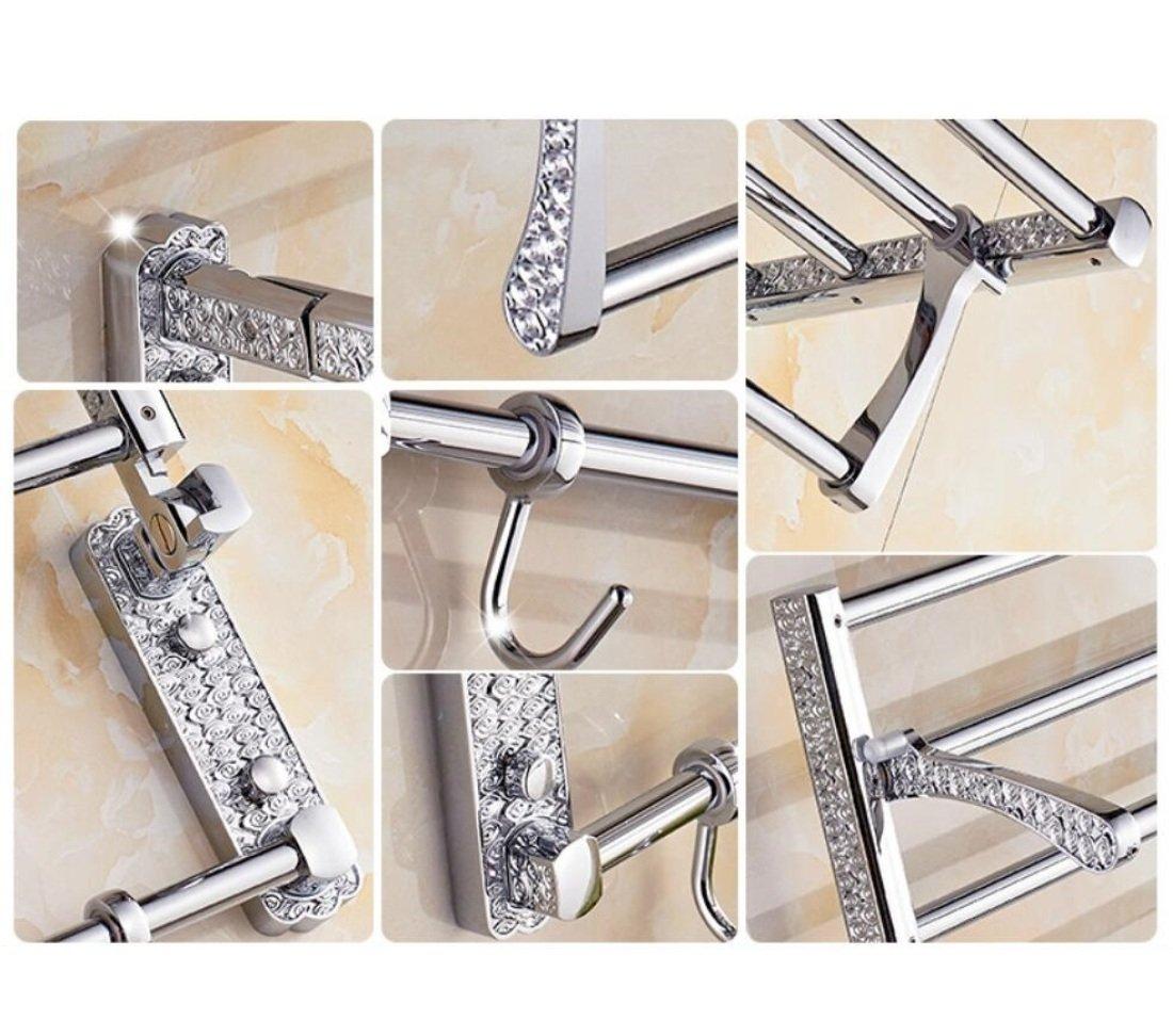 GL&G European luxury Silver Bathroom Bath Towel Rack Oxidation Bathroom Shelf Shower Bathroom Storage Organizer Shelf Wall Mount Bathroom Accessories Bathroom Shelves,6023.513.5cm by GAOLIGUO (Image #4)