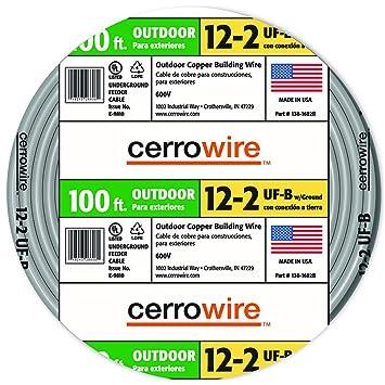 Cerro Wire 138-1602-C 12-AWG Type UF-B 100-Foot 2-Conductor ...