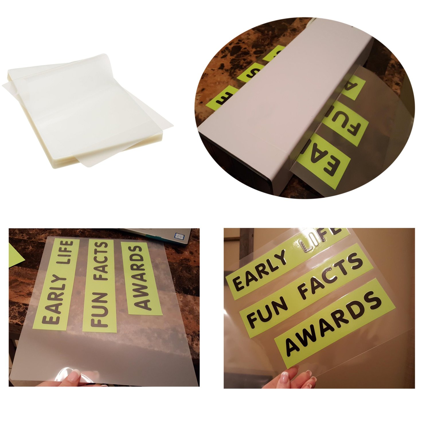100 Pack 3Mil Thickness Immuson Thermal Laminating Pouches 8.9 x 11.4 Crystal Clear Finish