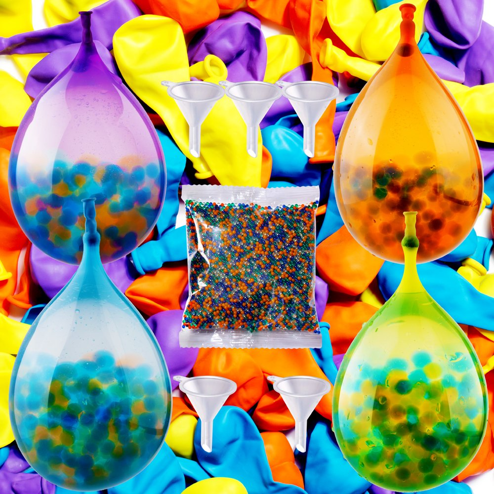 PROLOSO Newest Water Balloons Fight And Stress Relief Toy Kit (10000 Water Beads/100 Self-Sealing Balloons) Super Water Balloon Bombs, Sensory Toys for Kids and Adults