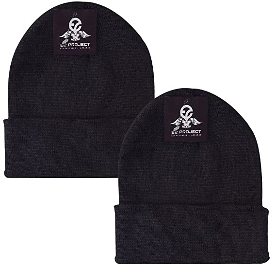 bd5e58664a1 2 Pack Classic Solid Color Ski   Winter Cuff Beanie Skull Cap for Men or  Women
