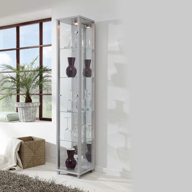 Fully Assembled HOME Single Glass Display Cabinet 4 Glass Shelves (Black) Displaycabinetsuk
