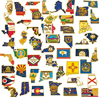 PinMart 50 State Shape Enamel Lapel Pin USA Collection Value Pack