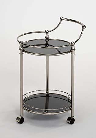 eHomeProducts Satin Nickel Finish Round Serving Cart 2-Tier Tempered Glass Wine Storage