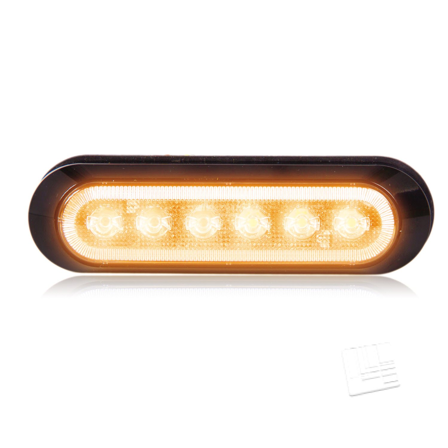 Maxxima M20386YCL 6 LED Amber Clear Lens Ultra Thin 0.9'' Warning Strobe Light by Maxxima