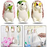 OFKPO 3PCs Cut Hedgehog Shape Toothbrush Holder with Adhesive Sticker for Living-room Bathroom Kitchen