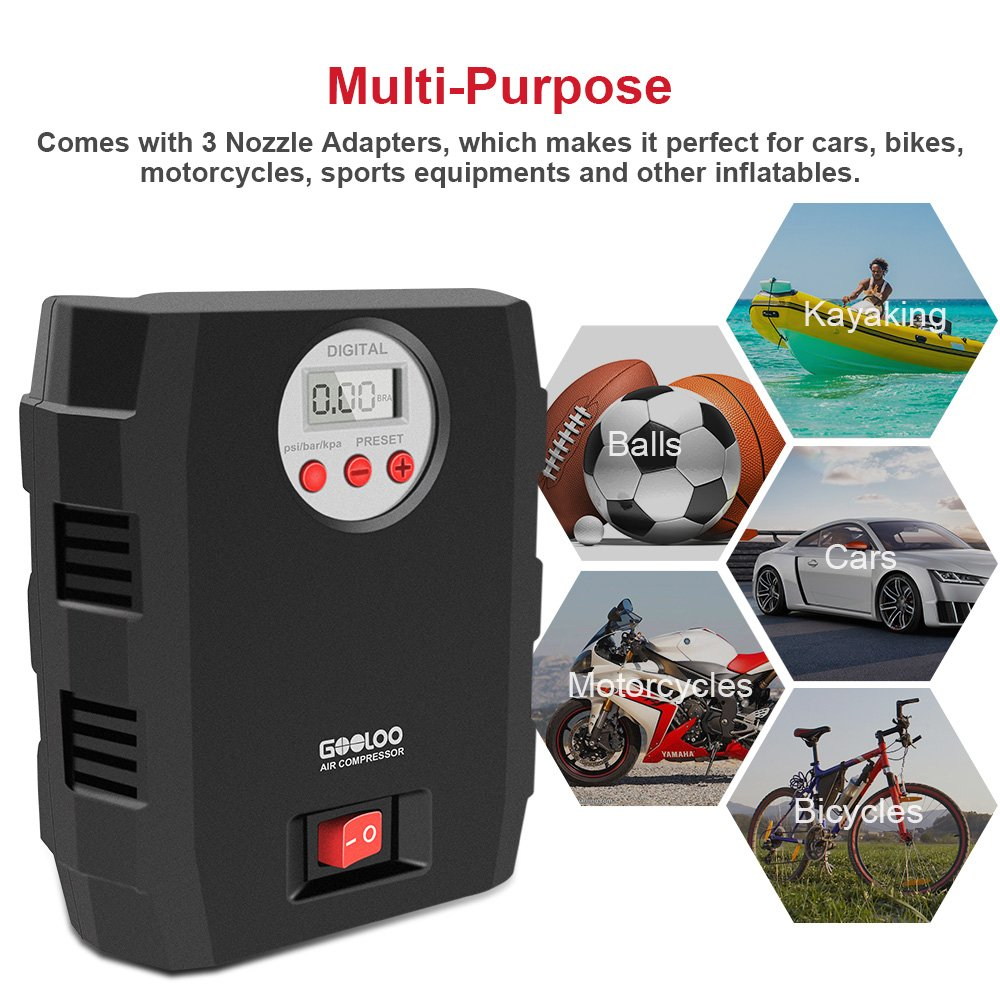 5. GOOLOO 300PSI Tire Inflator Premium Electric Portable Auto Air Compressor