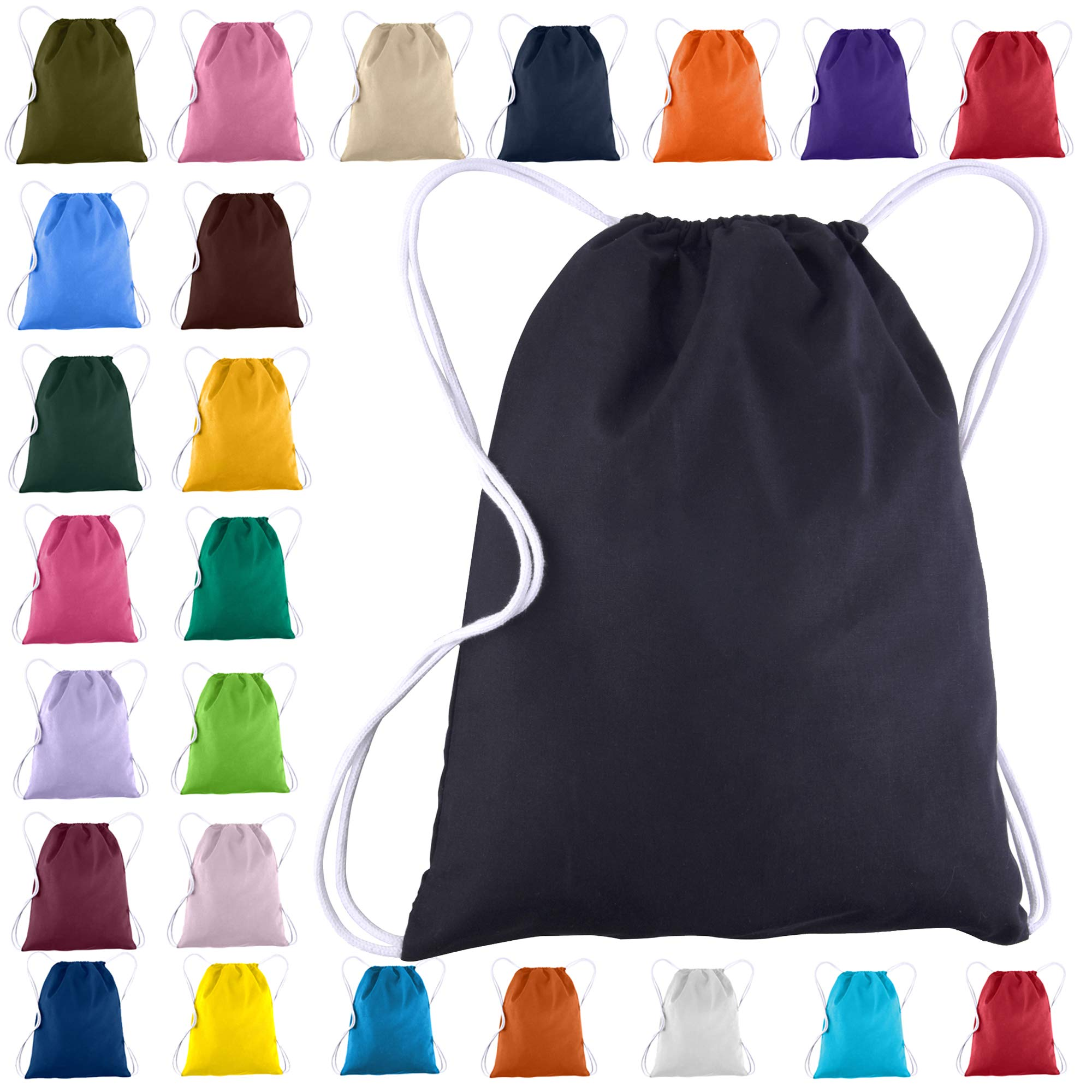 Cotton Canvas Drawstring Backpacks Bags - 12 Pack - Bulk Pack, Promotional Sport Gym Sack Cinch Bags