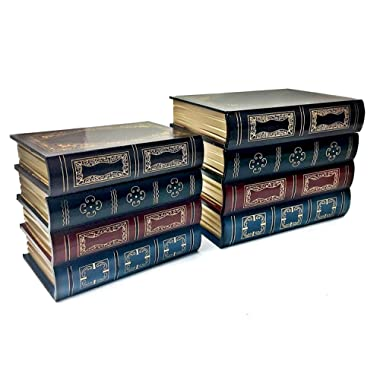 Bellaa 25419 Book Box Bookends w/Hidden Storage 2pcs Set Library