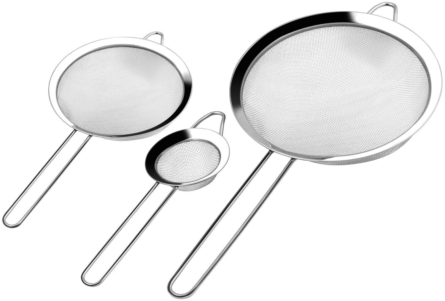 Set of 3 Stainless Steel Mesh Strainer Sieve With Handle Professional