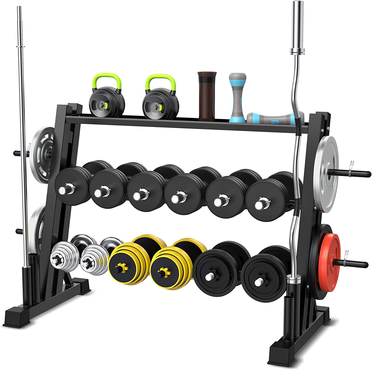 3 Tier Dumbbell Rack for Home Gym, Dual Vertical Bar Rack All in One Dumbbell Rack Athletic Supply Set Storage Rack Holds Up to 1322 LB for Home Workout Gym Storage Stand - Black