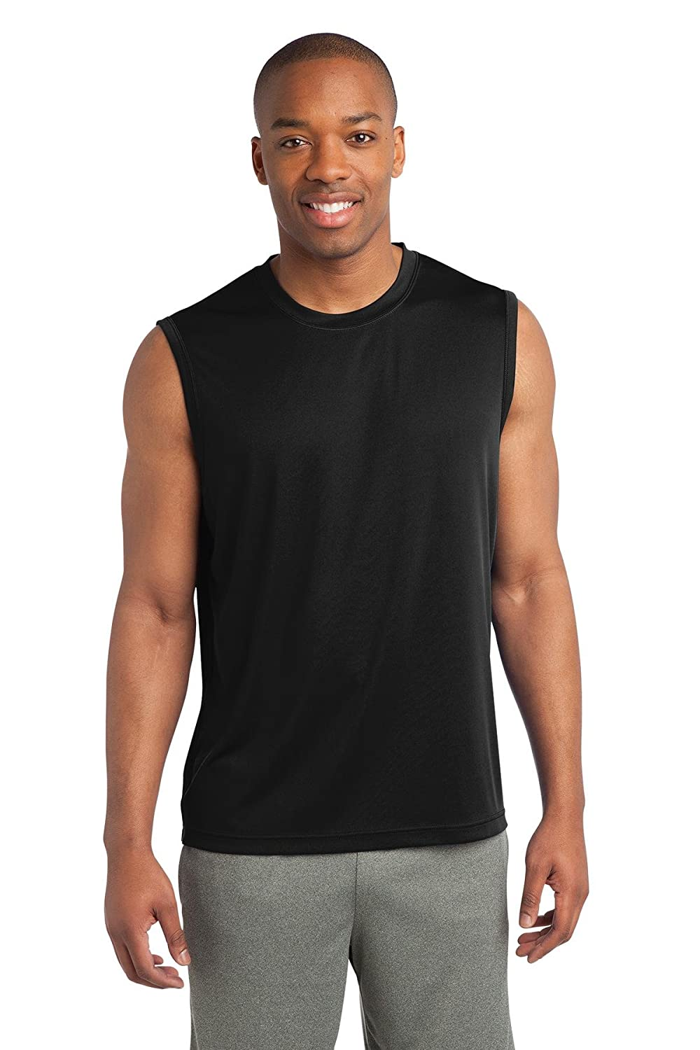 Black L Clementine Mens Sleeveless PosiCharge Competitor Tee ST352