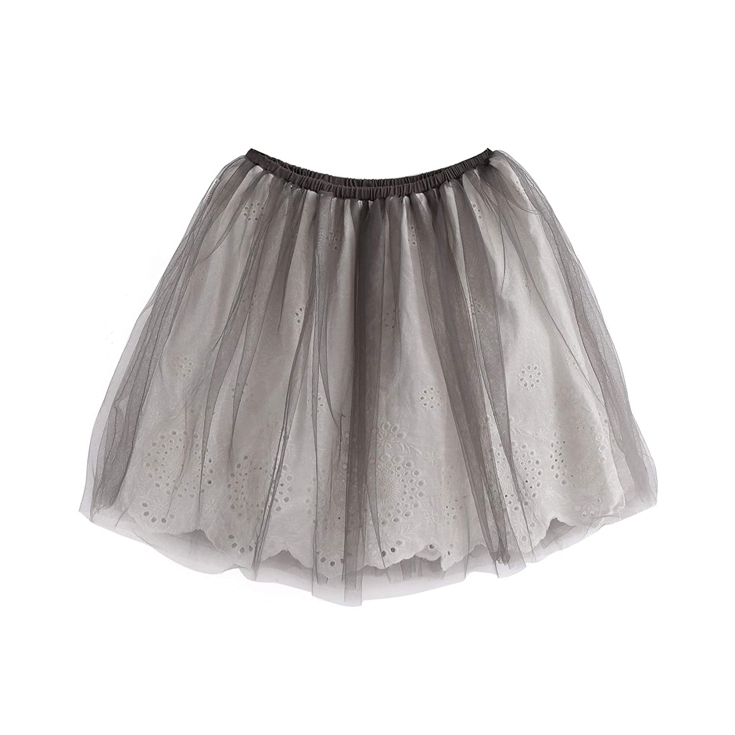 Aimama Toddler Girls Tulle 2 Layers Lace Dace Skirt Pink /& Black with Elastic Waistband for 1-6T