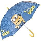 Paraguas Minions de Mi Villano Favorito - Paraguas para niño Azul y Amarillo, Resistente, antiviento y Largo - 3/5 Años - Apertura Manual de Seguridad - Perletti