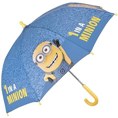 Paraguas Minions de Mi Villano Favorito - Paraguas para niño Azul y Amarillo, Resistente, antiviento y Largo - 3/5 Años - Apertura Manual de Seguridad ...