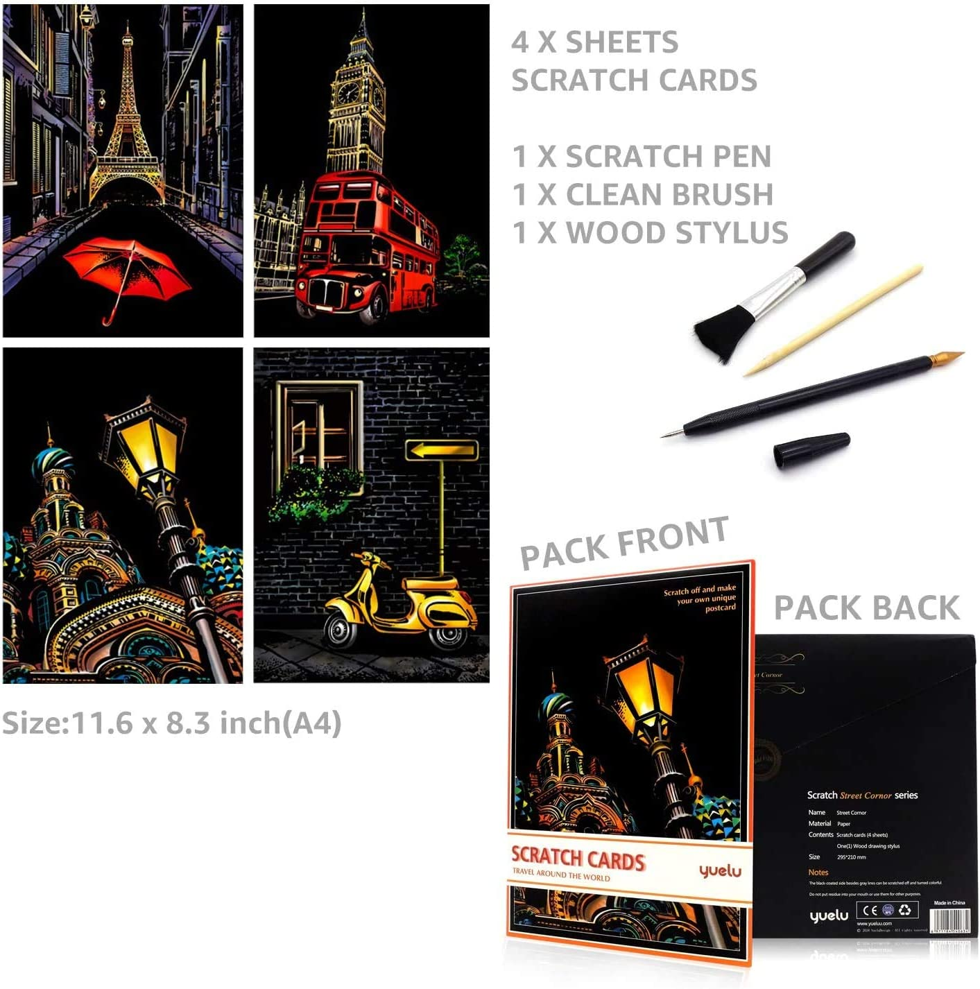 f/ür Kinder Erwachsene Beast-Serie Clean Brush Gravur Art Set: 4 Scratch Cards /& Scratch Drawing Pen Scratch /& Sketch Art Paper Regenbogenmalerei Night View Scratchboard Art /& Craft A4