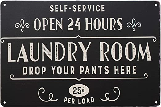 Amazon Com Pxiyou Open 24 Hours Laundry Room Vintage Retro Metal Sign Home Bathroom Laundry Decor Wash Room Signs 8x12inch Home Kitchen
