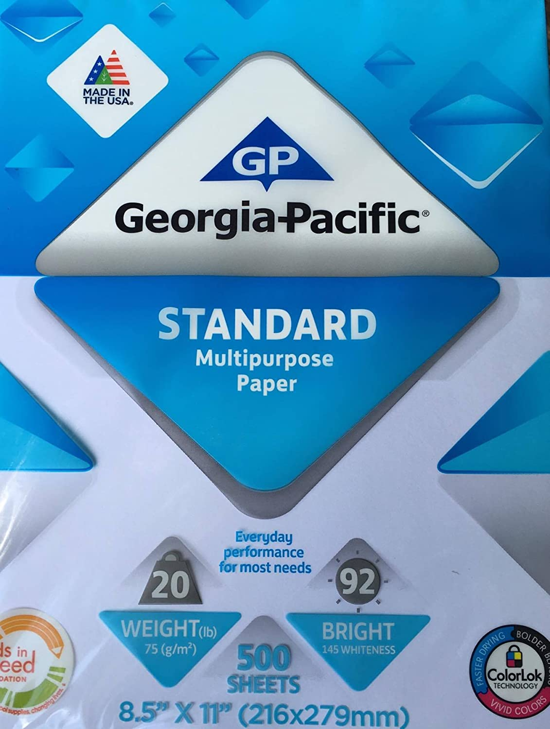 Georgia Pacific Copy and Print Paper, 8.5 x 11 Inches Letter Size, 92 Bright White, 20 Lb, 1 Ream (500 Sheets)